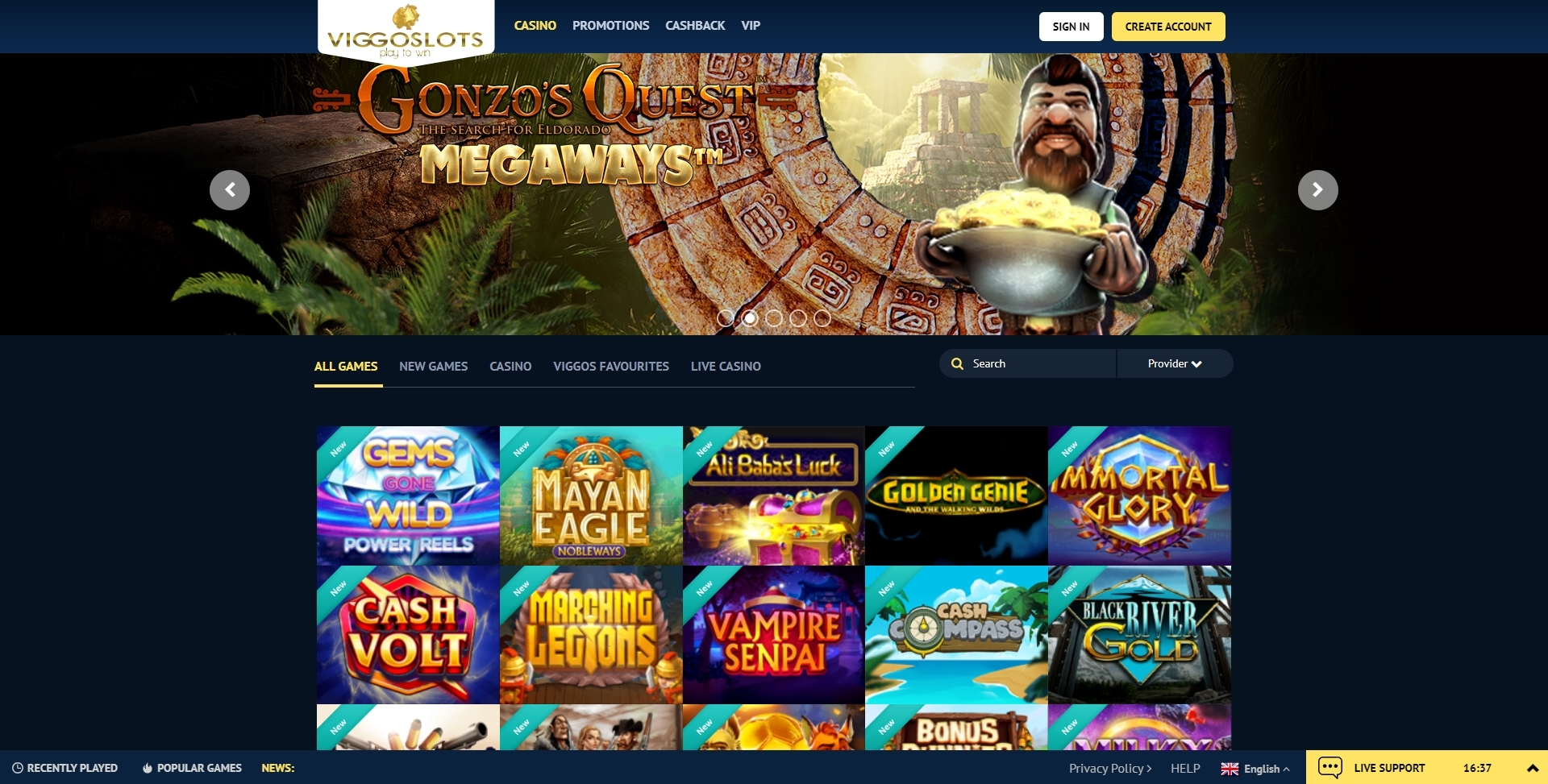 viggoslots casino homepage with bonus presentation and slots